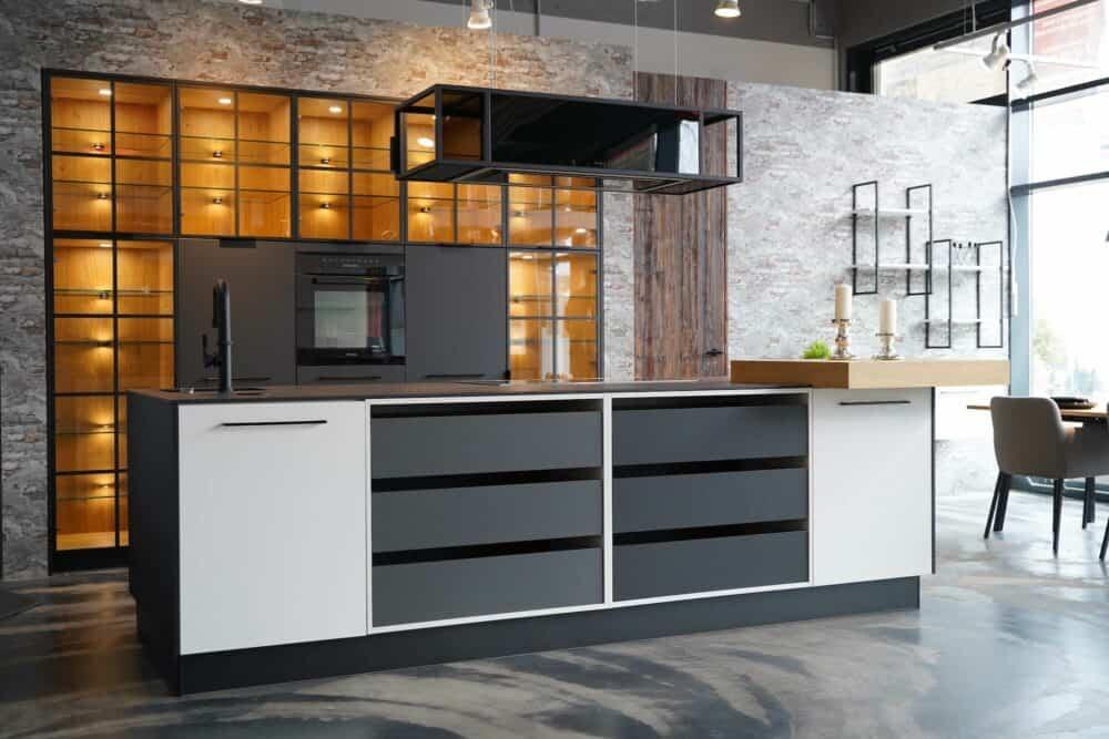 Ballerina Kücheninsel mit Wandschrank industrial Style