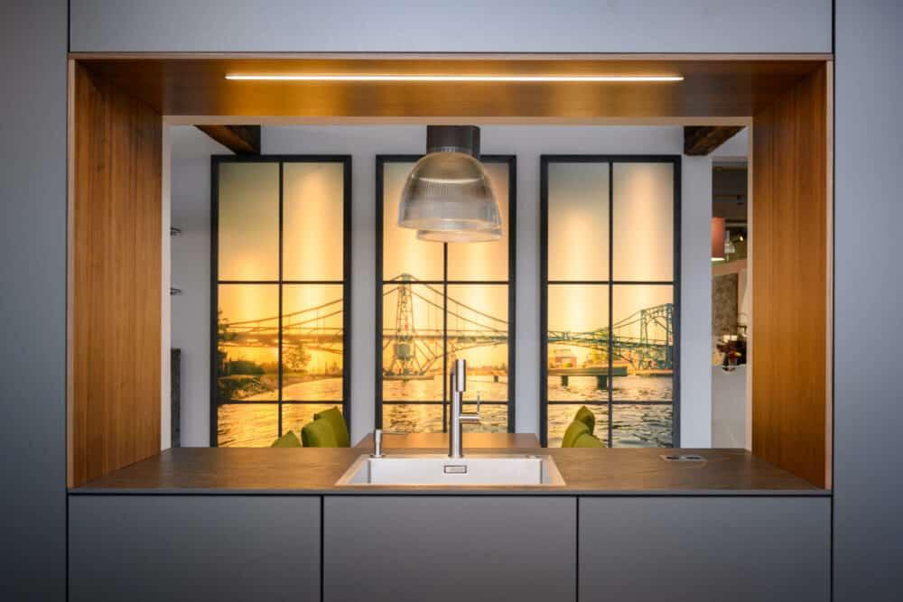 Wohnküche offene Küche Edelstahl Küchenspüle