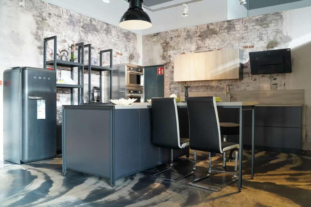 Industrial Style Inselküche matt grau
