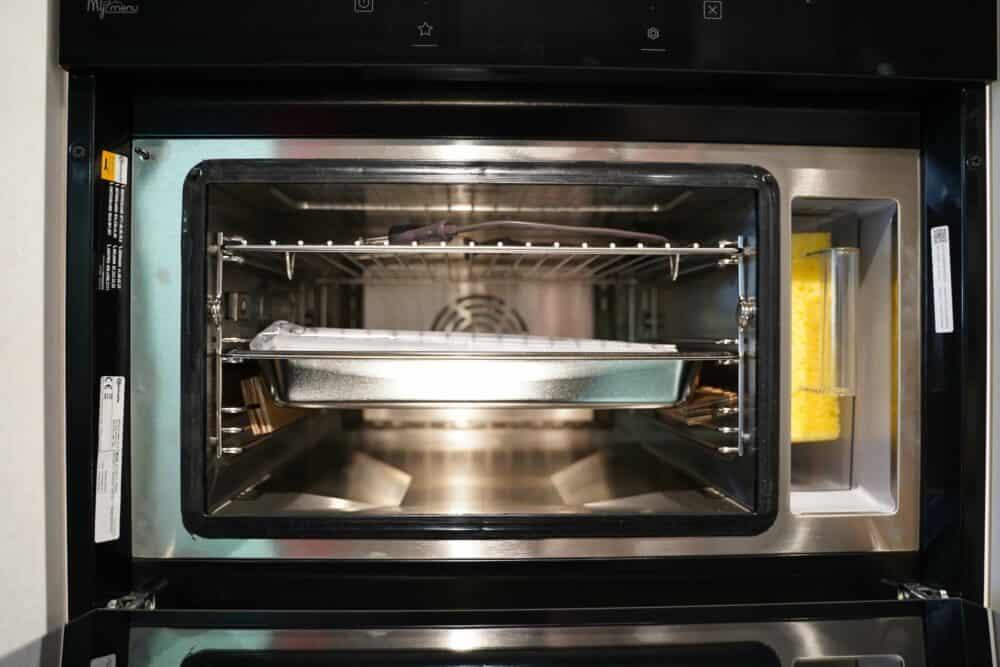 L form Küche hochglanz front Backofen