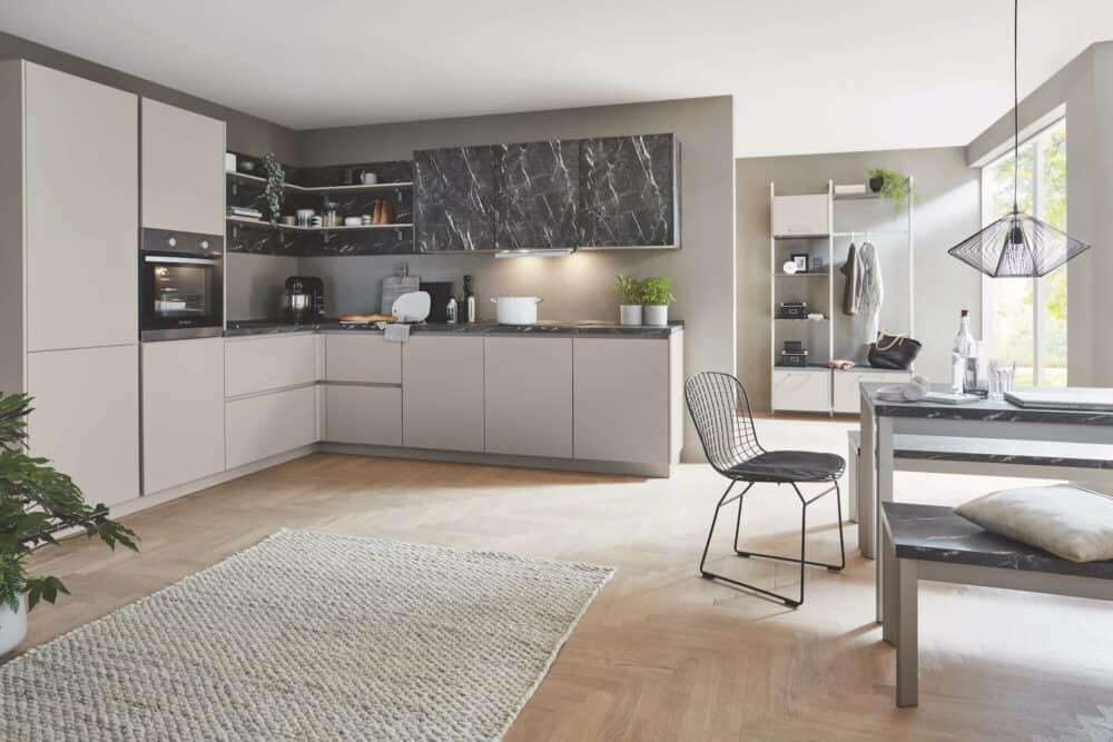 Nobilia L-Küche sand Ultramatt Marmor Teramo