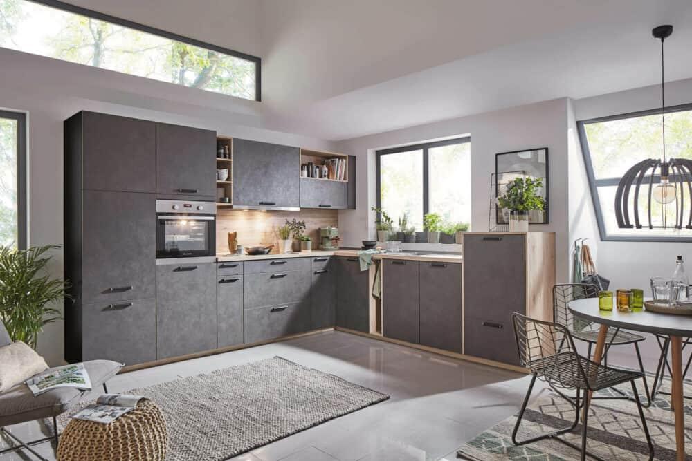 Nobilia moderne L-Küche Beton Terragrau