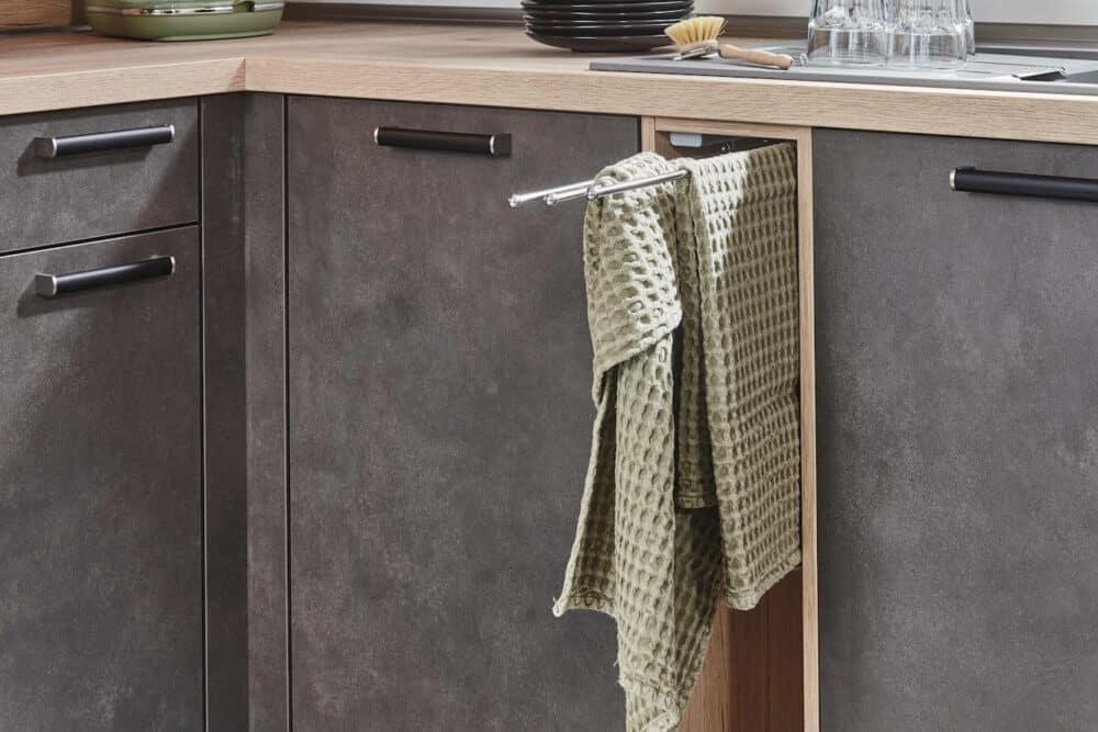 Nobilia moderne L-Küche Handtuch Auszug
