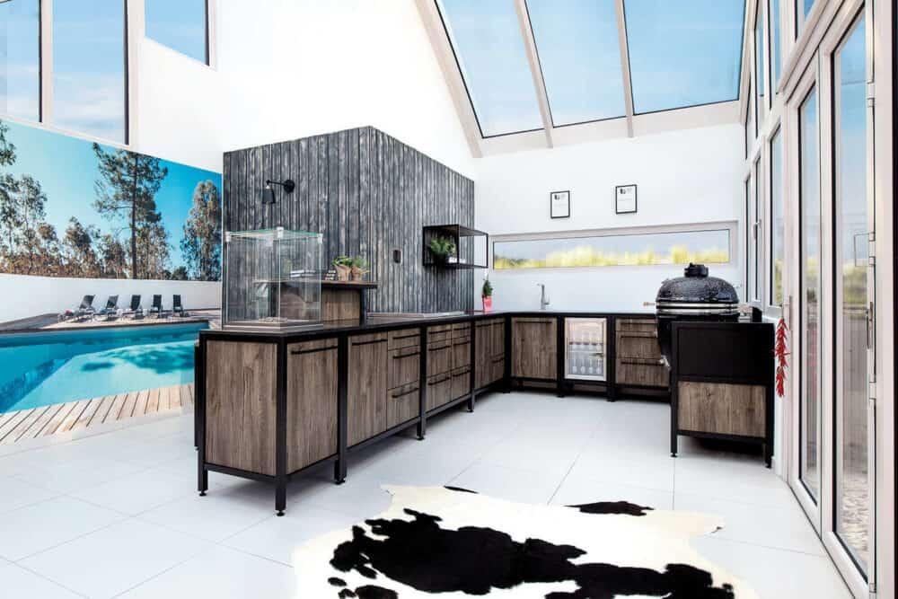 U-Küche Burnout Outdoor Küche Edelstahl black