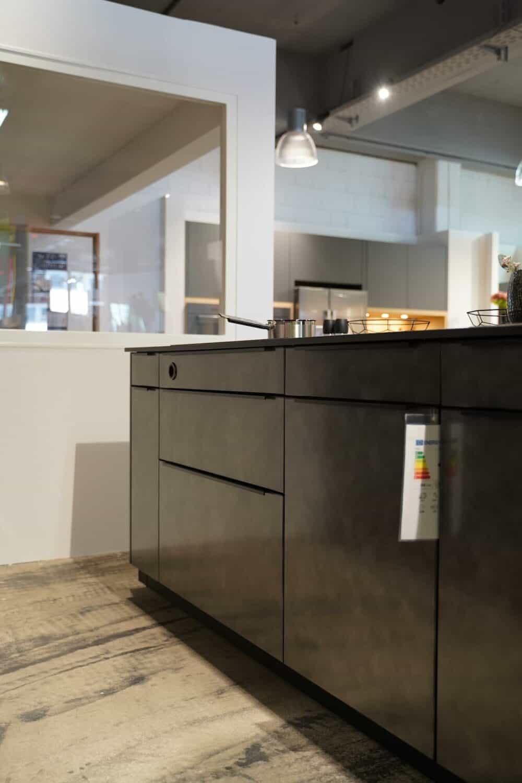 Kücheninsel metallic Fronten hochwertig mit Griffleisten