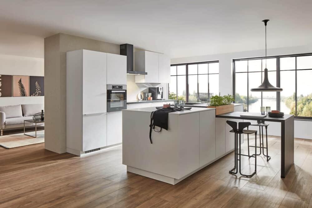Nobilia Easytouch Inselküche modern matt weiß