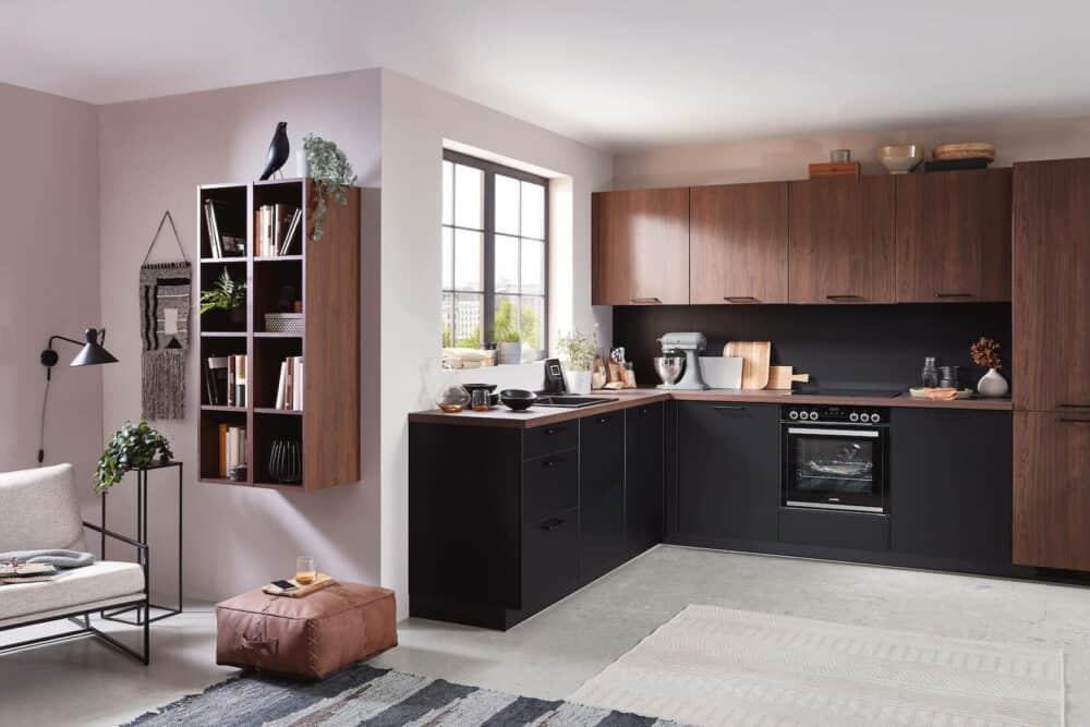 Nobilia L-Küche modern schwarz supermatt nussbaum