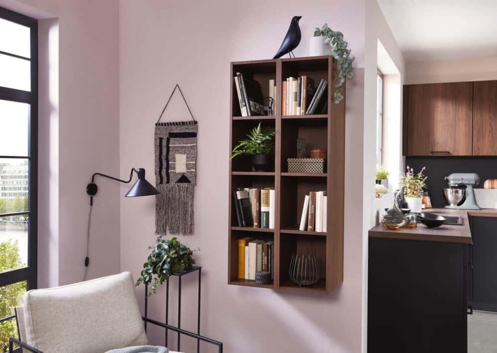 Nobilia Riva L-Küche mit Wandschrank Nussbaum Nachbildung